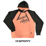 "Soft Touch ""Beach Vibes"" Hoodie Coral & Charcoal"