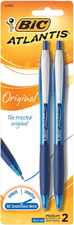 Blue Ink 2 Pack Bic Atlantis Click Pens